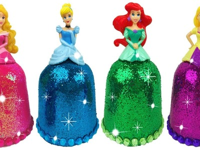 DIY Play Doh Sparkle Disney Princess Dresses Ariel Elsa Magiclip Super Glitter Play Doh Dress