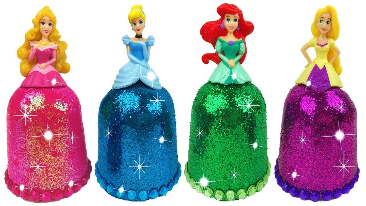 DIY Play Doh Sparkle Disney Princess Dresses Ariel Elsa Magiclip Super Glitter Play Doh Dress