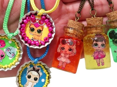 DIY Slime Jewelry ! Toys and Dolls Fun with LOL Surprise Necklaces & Lil Sisters 3 Blind Bags