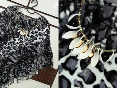 DIY-Trendy Poncho Top From Old scarf.Dupatta.Saree.Tassels. princess choice