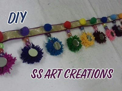 DIY: YARN TORAN. DOOR HANGING TORAN FROM WOOLEN. BANDHANWAR – SS ART CREATIONS