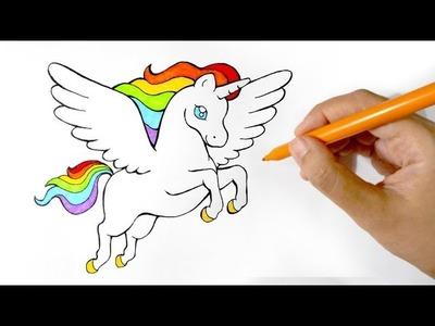 How to Draw a Rainbow Winged Unicorn