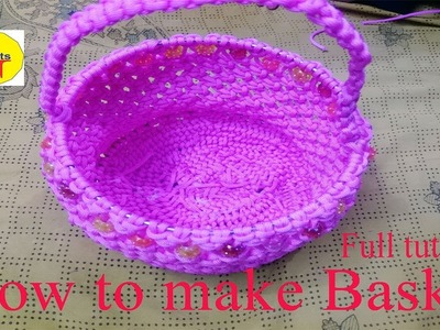 How to make Basket with macrame full tutorial