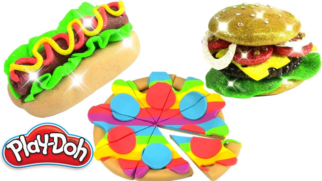 Play Doh Food Creations Glitter Hot Dog Play Doh Rainbow Pizza Mickey Mouse Clubhouse and Burguer