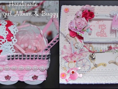 "(SOLD) BEST HANDMADE GIFT EVER TO GIRL It's a baby Girl Album 8""X8"" with baby buggy (pram)"
