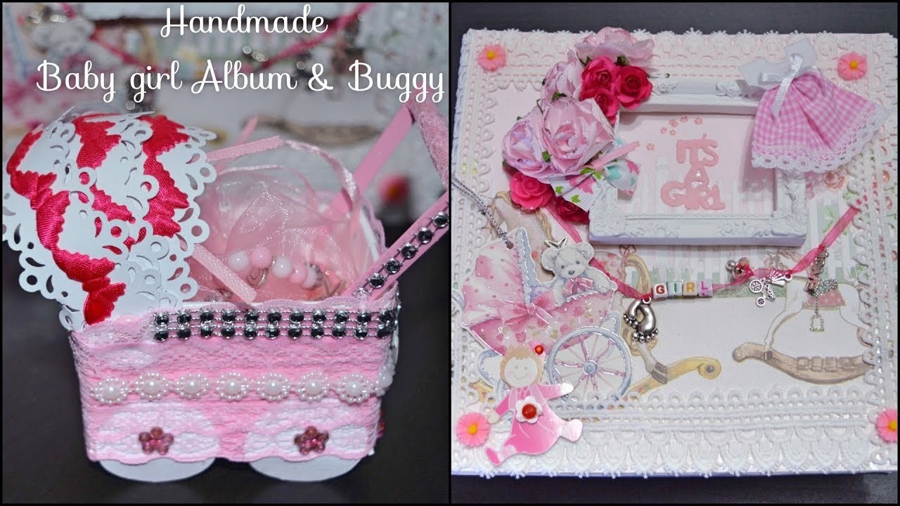 """(SOLD) BEST HANDMADE GIFT EVER TO GIRL It's a baby Girl Album 8""""X8"""" with baby buggy (pram)"""