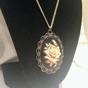 Vintage Style Silver Platted and Tibet Silver Cameo Pendant Necklace.