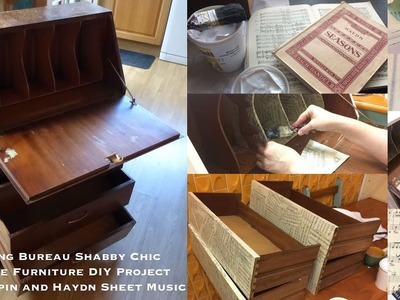 Writing Bureau Shabby Chic Upcycle Furniture DIY Project with Chopin and Haydn Sheet Music