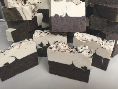 Coffee scrub slice cold process soap