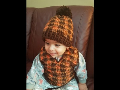 Crochet baby hat and vest part 1 of 2
