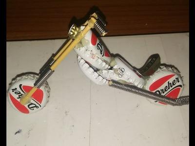 Custom Harley Davidson from Bottle Caps DIY How to make clay Motorbike Mini homemade Motorcycle
