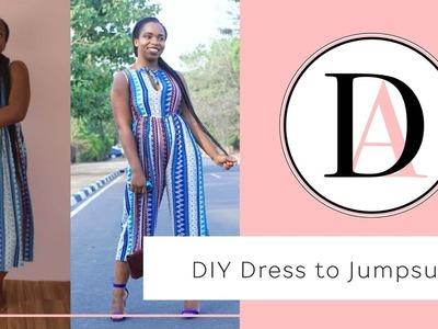 DIY Dress to Jumpsuit in 2 minutes #Refashion