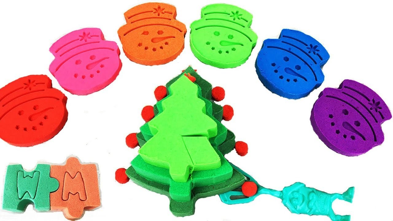 DIY How To Make Kinetic Sand Christmas Tree Cake Snowman Cookie Toy Surorise For Kids