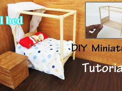 DIY Miniature  a Simple Bed doll |  Miniature crafts ideas  |  Project for kids