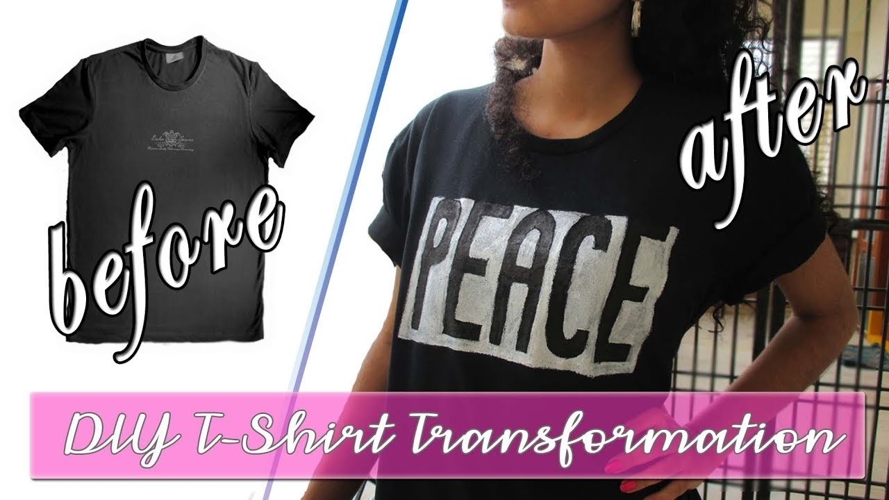 DIY T-shirt Transformation | How to paint letters on T-Shirt quick and easy step by step procedure