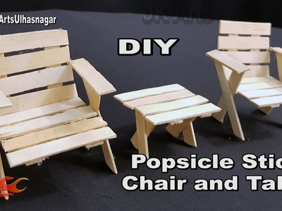 DIY Table and Chairs with icecream sticks | How to make | JK Arts 1339