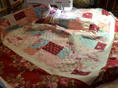 EPISODE 69 ~ Sneak Preview ~ Free motion quilting my easy 4 patch quilt