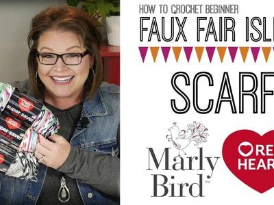 How to Crochet Beginner Faux Fair Isle Crochet Scarf [right handed]