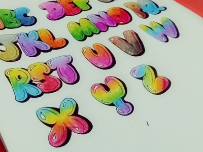 """How to Draw & Color Uppercase """"Bubble Letters"""" ????"""