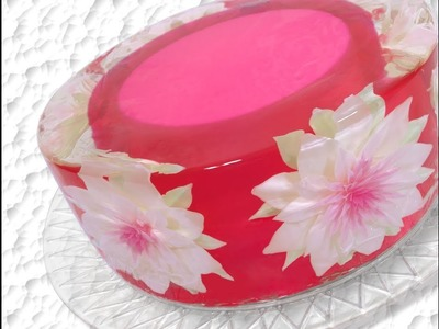 How to make a Gelatin Art 3D Gelatin flower cake with background