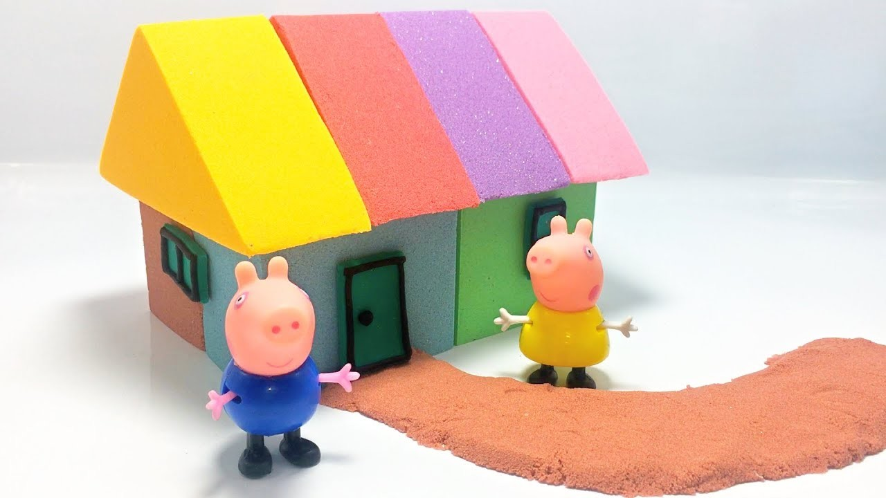 Kinetic Sand DIY Make House With Peppa Pig Stop Motion Learn Colors For Kids