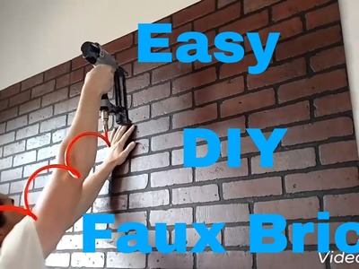Make a faux brick wall with brick panels. DIY interior design.