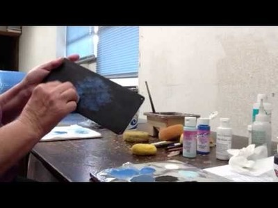 Painting Ceramics-sponging on a background