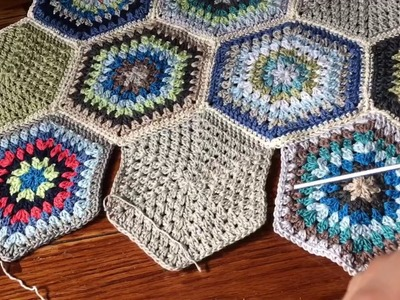 Part 3 of 3: Continuous JAYG using SC and PLT for Hexagons - motif single crochet joining method