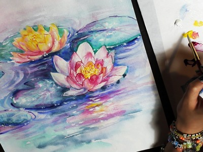 WATERCOLOR PAINTING TIME LAPSE    abstract water lilies