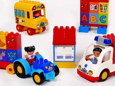 Ambulance School Bus and Tractor Building Bock Toy Vehicles Playset for Kids Toddlers and Children