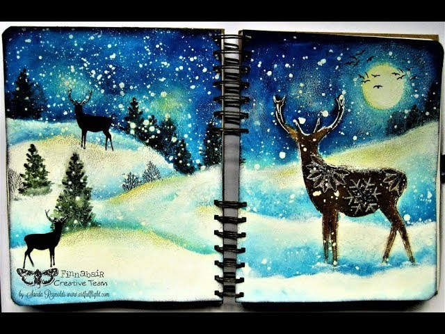 """Christmas Magic"" - mixed media art journal spread by Sanda Reynolds"