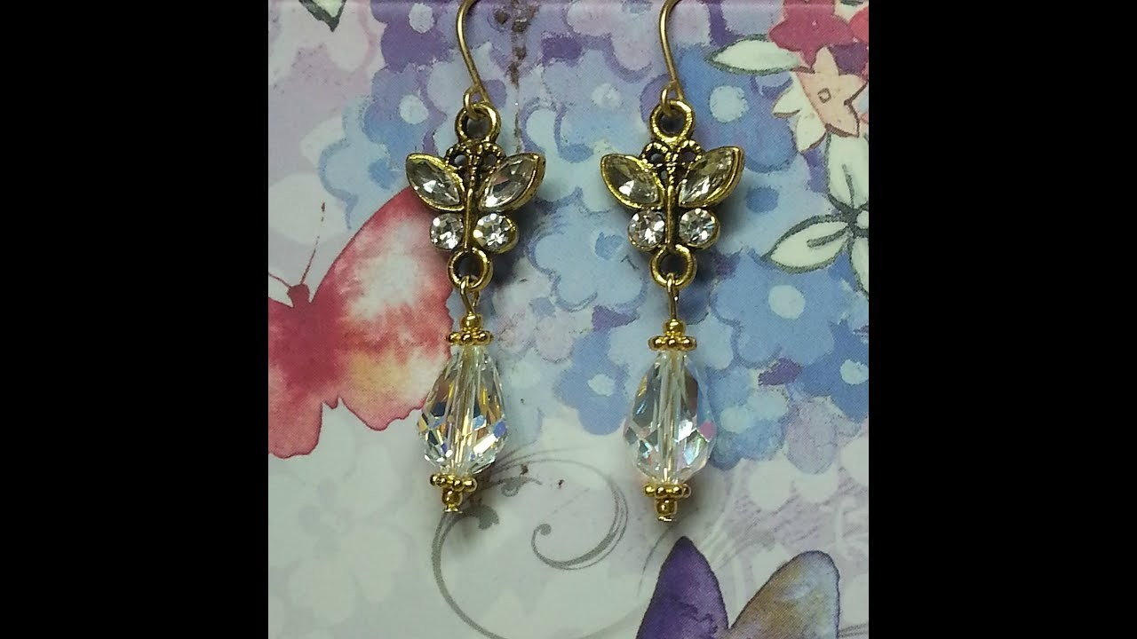 DIY~Make Gorgeous Crystal Dangle Butterfly Earrings! Inexpensive & Easy!