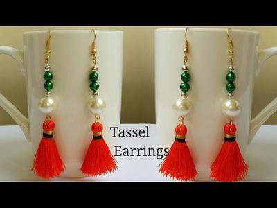 Diy Pearl with thread tassel earrings|Making silk thread tassel earring|Dangle earrings with Pearls