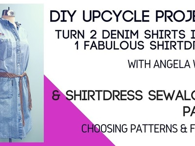 DIY: Upcycle Jean Shirts into a Shirtdres & Sew a Shirt dress Sewalong (Part 1) | Angela Wolf
