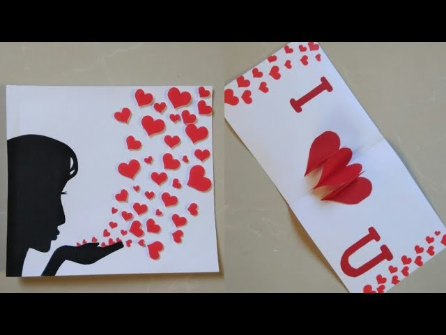 Diy Valentines Day Card Heart Pop Up Card Making Greeting Card For