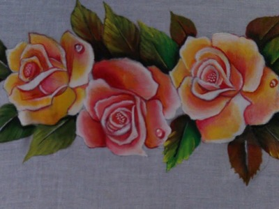 Fabric painting. Painting. Fabric Painting roses on dresses.