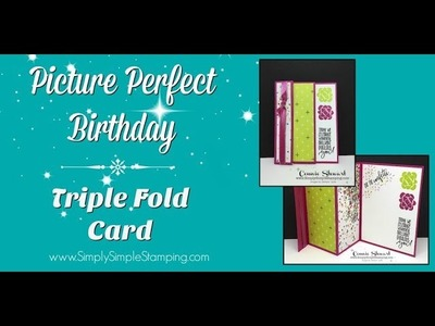 Facebook LIVE Rewind Picture Perfect Birthday -Triple Fold Card by Connie Stewart
