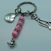 Grandma bead and charm keyring