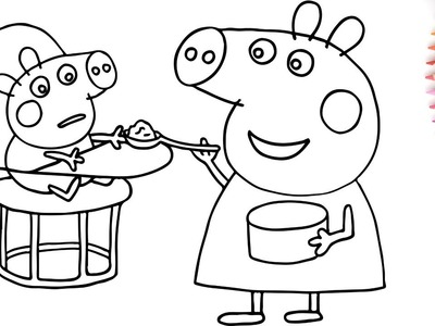 How To Draw Peppa Pig Baby and Mummy Pig with Water Colour ???? Coloring Pages Finger Family Nursery