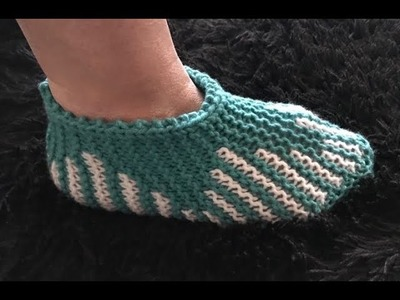 How to Knit Tulip Slippers Pattern #609│by ThePatternFamily