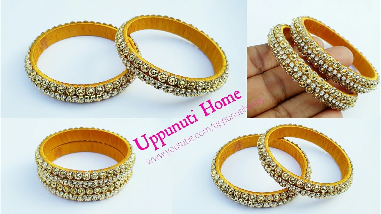 How To Make Designer Silk Thread Bangles At Home Diy Bridal And Fancy Side Bangles Uppunuti Home