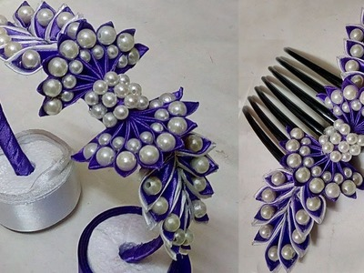 How to make Pearl Beaded Satin Ribbon Hair Band | Comb | Hair Accessories | Diy | Jewellery