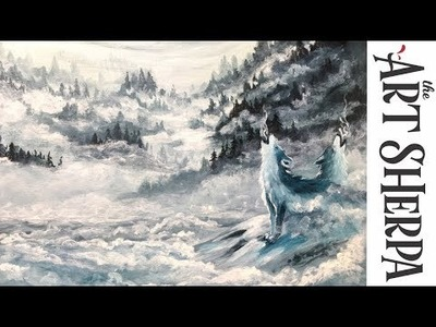 How to paint Misty Mountains Ice Wolves with Acrylic on Canvas