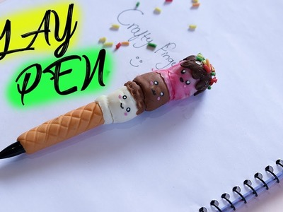 ICE CREAM PEN MAKING WITH CLAY | HOME MADE AIR DRY CLAY PR   OJECT |