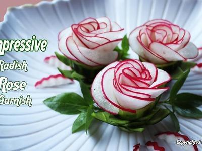 Impressive Radish Rose Garnish   Vegetable Flower Crafting Garnish   Food Party Decoration.