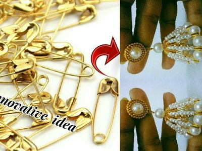 Innovative idea with safety pins   jhumkas making with safety pins   jewellery tutorials