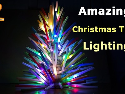 Make an Amazing Christmas Tree Lighting out of Straw, using LED string light