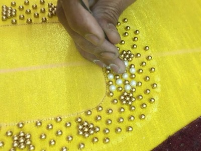 Making of Beautiful White and Gold Pearl work - Hand embroidery