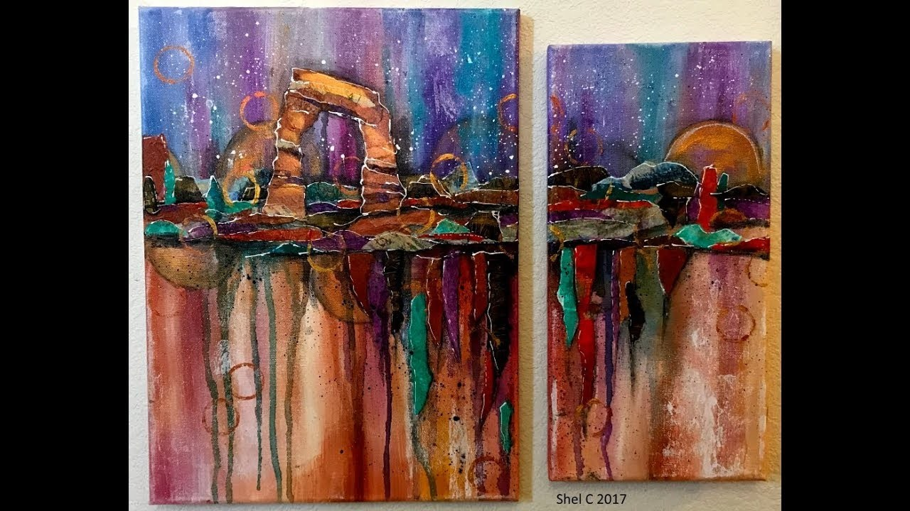 Mixed Media Abstract Canvas Duo - Gift for my BFF