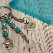 Mum bead and charm keyring